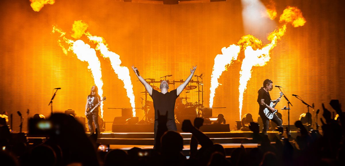 Disturbed in concert, Little Caesars Arena, Detroit, USA 5 Mar 2019